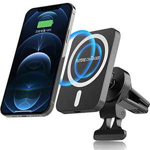 FutureCharger Magnetic Wireless Car Charger, 15W Magnetic Car Air Vent Mount Charger, Phone Holder Wireless Charging Pad Only Compatible with iPhone 12/12 mini/12 Pro/12ProMax Black+White