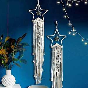 YAHUIPEIUS Boho Dream Catcher for Room Decor Macrame Wall Hanging Dreamcatcher Handmade Woven for Home Decor, Wall Decor for Bedroom, Gifts for Friends, Women, Family (Woven Star)