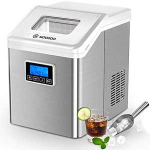 MOOSOO Ice Maker Countertop with Auto Self-Cleaning, 32 Nugget Ice Cubes Ready in 15 Minutes, 40lbs/24H, 3 Types of Ice Size, Portable Ice Maker with LCD, Ice Maker Machine with Basket & 2 Scoops