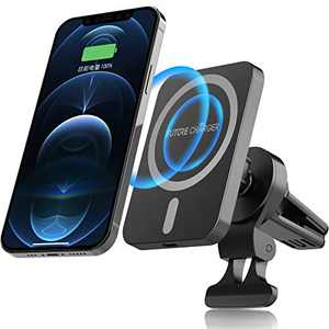FutureCharger Magnetic Wireless Car Charger, 15W Magnetic Car Air Vent Mount Charger Phone Holder Wireless Charging Pad Only Compatible with iPhone 12/12 mini/12 Pro/12 Pro Max Black+Grey