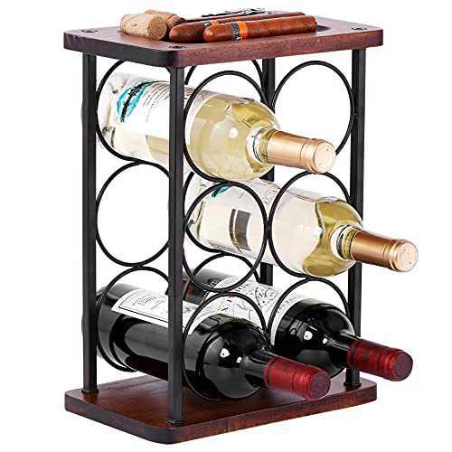 Wine Racks Countertop,HOWIDA Wooden Freestanding Floor Wine Holder, Perfect for Home Decor,Kitchen,Cabinet Pantry,Bar tapletop (6 Bottles)