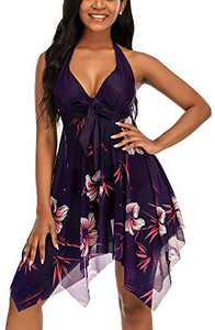 Jouplsar Women's Two Piece Swimdress Swimsuit Mesh Printed Tankini Set Bathing Suits Dress Tummy Control