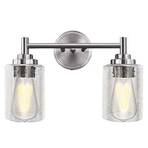 OUVR Bathroom Vanity Light - Modern Wall Lights fixtures Clear Bubble Glass Lamp Shade Brushed Nickel for Bathroom Lighting, Kitchen, Living Room, Attic
