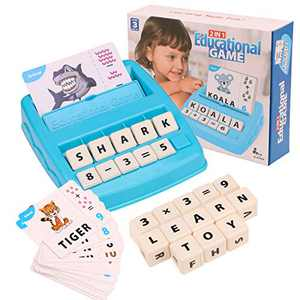 Matching Letter Game for Kids,Spelling Games for Kids Ages 4-8,2 in 1 Educational Game for Kids,Learning Toys for 3-8 Years Old Boys and Girls,Best Educational Toys Gift for Kids (Light Blue)