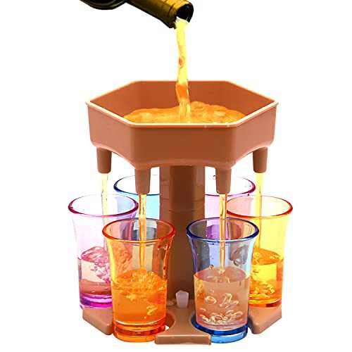 6 Shot Dispenser for Fulling liquid, with 6 cups and Silicone plug,Shot Buddy Dispenser for Party,Bar Game,Birthday Gift for Family and Friends