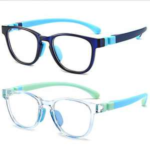 Blue Light Glasses for Kids 2 Pack,Blue Light Blocking Glasses for Girls & Boys,Computer Gaming TV Phone Glasses for Kids Age 3-12,Anti Eyestrain & UV Protection(Blue+Clear)