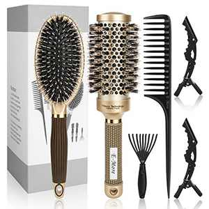 Achort Hair Brush Set 6 Pcs Hair Comb Set with Round Brush/Paddle Brush/Tail Comb/Cleaner Tool/Clips, Hair Brush with Boar Bristles for Women Men Kids, Great on Wet Dry Long Thick Thin Curly Hair