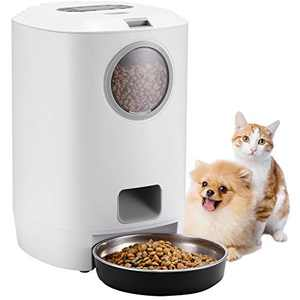 Automatic Cat Feeder,4.5L Dry Food Dispenser for Cats and Small Dogs with Stainless-Steel Bowl,1-4 Meals per Day & 10s Voice Recorder & Programmable Timer for Small Pets