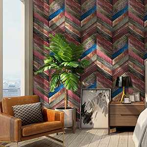 Wood Strip Wallpaper Peel and Stick Wood Contact Paper Self-Adhesive Wood Wallpaper 17.71''x 118'' Removable Wood Plank Wallpaper Wall Covering Decoration for Bedroom Furniture Bathroom Home DIY