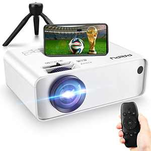 PAIPU Mini Projector - 1080P WiFi and 170'' Display Supported, 6500 Lumen Outdoor Projector with Stand, Movie Projector Compatible with TV Stick, PS4, HDMI, VGA, AV, TF, and USB for Andriod and iOS