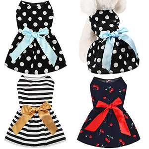 3 Pieces Cute Ribbon Dog Dress for Small Medium Dogs Puppy Shirts Dog Clothes Pet Apparel for Cats in Wedding Holiday Christmas New Year Spring Summer (White Dots, Black White Stripes, Cherries,M)