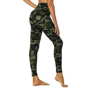 HIGHDAYS High Waisted Leggings for Women - Soft Opaque Slim Printed Pants for Running Cycling Yoga