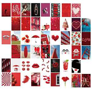 50pcs Red Aesthetic Wall Collage Kit- Aesthetic Pictures Kit Collage Photo Display Kit for Teen Girls Bedroom Dorm Wall Decor