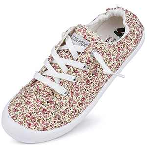 Canvas Sneakers for Women Low Tops Slip On Sneakers Casual Shoes Comfortable Pink F 7
