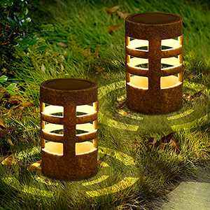 Solar Lantern Lights LED Outdoor Decor Garden Light Set of 2,Retro Tabletop Lamps for Table,Party,Pathway, Lawn,Courtyard or Outdoor,Lighting time up to 24 hours