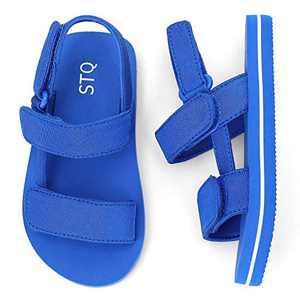 STQ Boys Sandals Summer Cute Lightweight Open Toe Flat Sandals for Toddler/Little Kid BLUE 5 M US Toddler