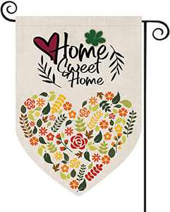 Sweet Home Garden Flags Flower Spring Holiday Yard Decorations Double Sided Burlap Outdoor Decors 12.5 x 18 Inch