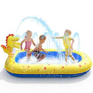 VIVI MAO 3 in 1 Inflatable Sprinkler Pool, Kids Swimming Pool Portable Inflatable Child/Children Pump Pool Outdoor Inflatable Pools Summer Fun Spray Water Toy…