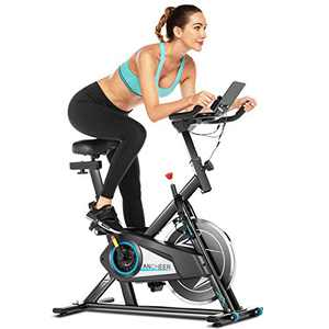 ANCHEER Indoor Cycling Bike,Exercise Bikes with APP Connection,Adjustable Resistance, LCD Monitor, Pad/Phone Holder, Comfortable Cushion, Quiet for Home Gym Cardio Workout