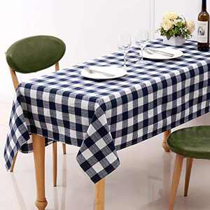 HARORBAY Buffalo Plaid Tablecloths,Checkered Navy Blue Oblong Camping Table Cover,Rectangular Cotton Linen Tablecloth 52x70,Fabric Table Cloth