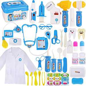 MGparty Kids Toy Doctor Kit 38 Pcs Pretend Dentist Medical Kit for Kids School Classroom Halloween Christmas Doctor Role Play Dress-Up Costume