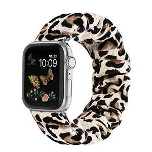 Compatible for Scrunchie Apple Watch Band 38mm 42mm 40mm 44mm Cute Print Elastic Watch Bands Women Bracelet Strap Compatible for Apple Watch SE iWatch Series 6 5 4 3 2 1(C Leopard, 42/44mm-Small)