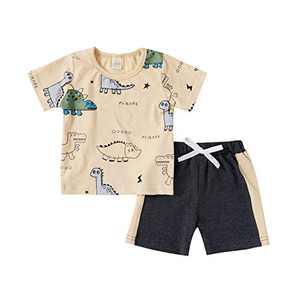 Toddler Baby Boy Clothes Dinosaur Short Sleeve Sweatshirt Top Patch Pants Sweatsuit 2PCS Summer Outfits Set