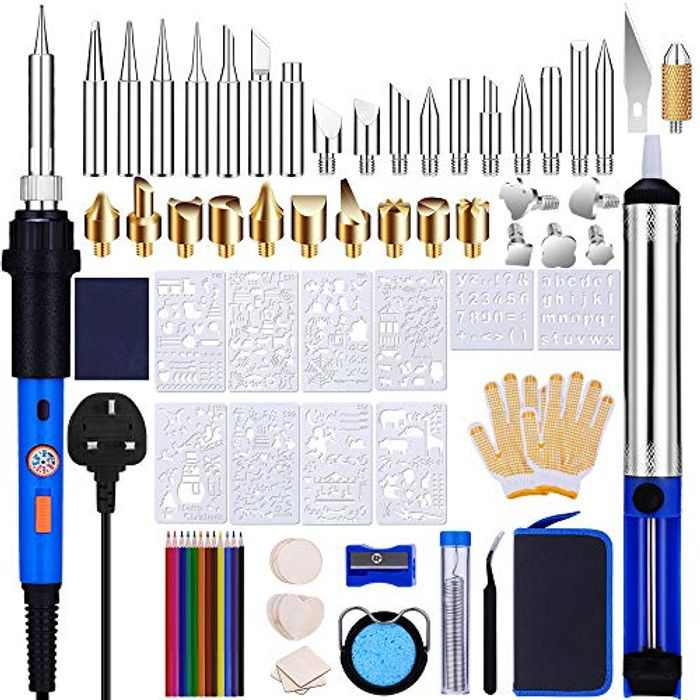 Wood Burning Kit, Pyrography Pen 81Pcs 60W Wood Engraving Kit Adjustable Temperature 220-480°C Wood Burner Tool, with 10 Soldering Iron Tips 10 Stencils, for Welding Embossing Engraving Craft
