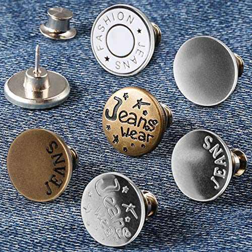 14PCS Instant Button Pins TOOVREN Jean Button Tightener Adjustable Jeans Button Pins No Sew 6 Style Pants Button Pins 17MM Button Jean Pins Metal Button Jean Waist Tightener for Women Men