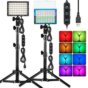 2 Packs RGB 2600K-6000K Video Conference Lighting Kit, USB Powered LED Zoom Calls Tabletop Light with Stand, for Webcam/Meeting/Tiktok/Game Streaming/YouTube/Photo Video Studio Shooting