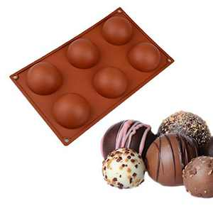 2 Pack Semi Sphere Silicone Mold, 6-Cavity Holes Medium Silicone Baking Mould for Making Hot Chocolate Bomb, Cake, Jelly, Dome Mousse (Brown, 2PCS)