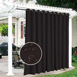RYB HOME Patio Curtains Outdoor - Waterproof Outdoor Privacy Curtain Thermal Isulated Blackout Solar Curtains for Porch Arbor Outdoor Shower, Wide 150 x Long 84, 1 Pc, Brown