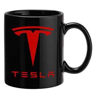 Black Tesla Coffee Mug, Funny Car Logo Tea Cups Birthday Gifts For Friends Dad Boyfriend Brother