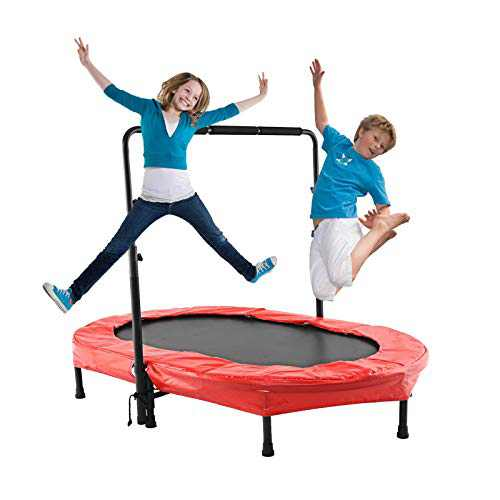 ANCHEER Trampoline for 2 Kids with Adjustable Handle, Parent-Child Jumping Fitness Rebounder Trampoline for Indoor and Outdoor Exercise with Protective Frame Cover (RED)