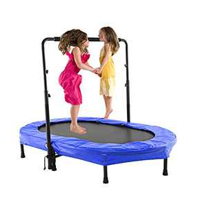 ANCHEER Trampoline for 2 Kids with Adjustable Handle, Parent-Child Jumping Fitness Rebounder Trampoline for Indoor and Outdoor Exercise with Protective Frame Cover (Blue)
