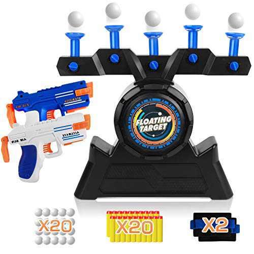 Floating Ball Targets RegeMoudal shot target games for Kids with 2 Foam Dart Guns, 20 Foam Balls & 20 Darts for Boys or Girls+2 Wrist Belt Target Practice Toys (Blue)