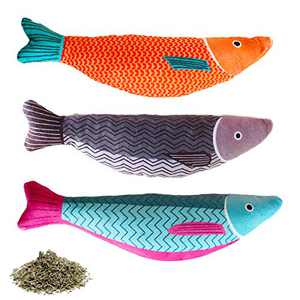 AKETCH 3 Pack Catnip Fish Cat Toy Cat Chew Squeaky Toy Interactive Pets Pillow Plush Bite Kick Fish Toys with Catnip for Cat Toothbrush