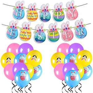 RECUTMS Easter Party Decoration Supplies Kits, Easter Banner 20 PCS Easter Bunny Balloons Family Easter Decorations Easter Gifts