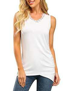 Women's White Tank Tops Lace V Neck Summer Casual Ruched Sleeveless Vest Blouses White XL