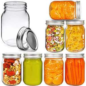 Regular Mouth Glass Mason Jar with Lid and Band,16 oz,set of 8