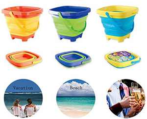 """RANLUP 6.7"""" Inch Beach Pails Sand Buckets and Sand Shovels Set for Kids,Cute Beach Toys,Foldable Bucket Portable Silicone Pail for Kids Beach Play, 2.5L, 3PCS (3 Colors(Yellow/Green/Blue))"""