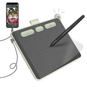 Parblo Ninos Graphic Drawing Tablet - Digital Tablet Tilt Function of 8192 Levels Pressure Sensitive Battery-Free Stylus, 6 X 4inch 5 Shortkeys Drawing Pen Tablets for Education&Art Designer (Green)