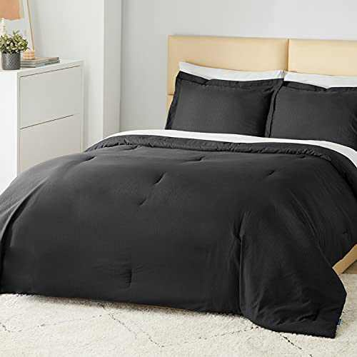 Bedsure Striped Comforter Set Twin Size Bed Black - Bedding Comforter Sets Twin Bed Set, Twin Size ComforterSets 2 Piece, 1 Comforter and 1 Pillow Sham