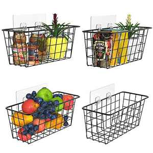 MaraFansie Wall Wire Baskets Over the Cabinet Door Organizer Hanging Basket Shelf for Cabinet & Pantry Organization and Kitchen, Bathroom, Bedroom Storage, with Adhesive, 4 Pack