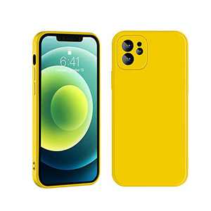 Manducary Liquid Silicone Case Compatible with iPhone 12/12 Mini (2020), Gel Rubber Full Body Protection Cover Case Drop Protection Case (Yellow, iPhone 12 Mini)