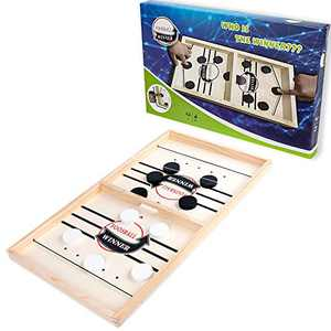"Fast Sling Puck Game, 22"" x 11.8"" Foosball Winner Sling Puck Board Game, Slingshot Board Game Desktop Battle Table Hockey Game with 10 Pucks, Tabletop Slingshot Games Toys for Kids & Adults"