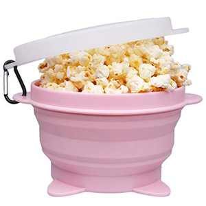 Microwave Popcorn Popper, Microwave Popcorn Maker Silicone, Microwave Popcorn Popper Silicone Collapsible, Popcorn Bowl BPA Free & Dishwasher Safe(Pink)