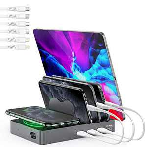 Undassenk Charging Station with Wireless Charger for Multiple Devices, 50W 4 Port Quick Charger Dock (1 PD 20W USB-C and 3 USB-A) with Wireless Charging, Compatible with iPhone/iPad/Samsung/Android