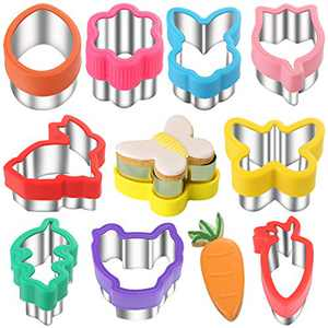 Easter Cookie Cutters - 9 Pieces - Holiday Cookie Cutters -Fruit Cutter,Vegetable Cutters,Sandwich Cutters,Cookie Cutter Molds with Comfort Grips