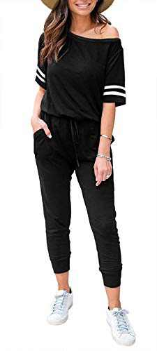 SAUKOLE Women's Off Shoulder Jumpsuit Elastic Waist Long Pant Loungewear Casual Jumpsuits and Rompers Outfits with Pockets Black